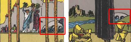 ワンドの4とカップの5に描かれているアーチ